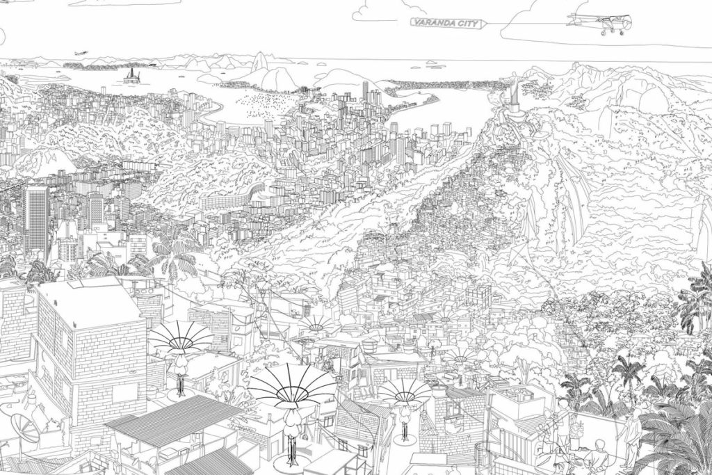 Pictures shows drawn landscape of Rio de Janeiro and a Favela or correctly called informal settlement